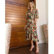 Vestido Alice Viscolinho ( 85% Viscose 15% linho) + Cinto  Cores Off e Verde