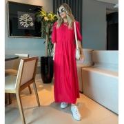 Vestido Alice Viscose Detalhe Camada Assimétrica