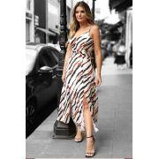 Vestido Ariane Crepe Alças Midi Com Cinto Largo e Fenda 5% Elastano