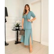 Vestido Ariane Crepe  Longo Detalhe  Trançado