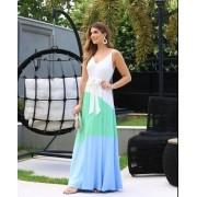 Vestido Ariane Fluido  Viscomalha  Com Faixa  Color Blocking