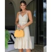Vestido Ariane Midi Linho Com Faixa Bordada