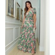 Vestido Ariane Viscose Floral Fenda