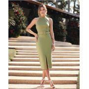 Vestido Ariela Midi + Cinto (50% algodão, 46%poliamida e 4% Elastano)