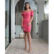 Vestido Betania Linho  Ombro a Ombro Cores Off e Rosa 3%Elastano