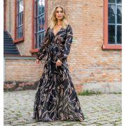 Vestido Cheroy Chiffon Fleur MG/Longa +Faixa
