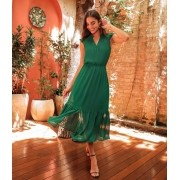 Vestido Raquel Chiffon Detalhe Lastex