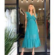 Vestido Claudia Chocoleite Chiffon Midi Detalhe Laço lateral cintura