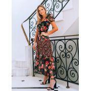 Vestido Diana Crepe Floral Estampa Exclusiva Com Renda