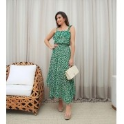 Vestido Ariane Crepe Floral Pontas e Babados