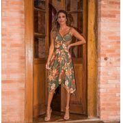 Vestido Brenda Crepe Pontas com Bordado Frente