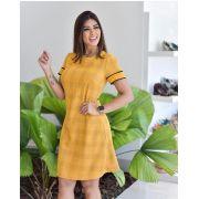 Vestido Daiane Crepe Detalhe Tricot cORES  Mostarda e Preto