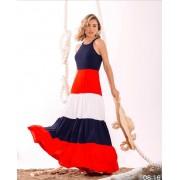 Vestido Dolores Longo Color Blocking Crepe (Forro em Malha)