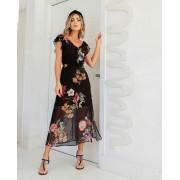Vestido Donatela Crepe Midi Floral