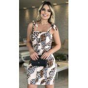 Vestido Eduarda Linho & Crepe Com Laço Alça (Forro)2% Elastano