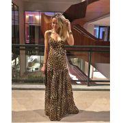 Vestido Eleonora Longo Crepe animalprint + Cinto