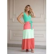 Vestido Ema Tricolor Viscomalha 4% Elastano (Forro)