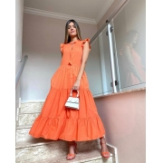 Vestido Esmeral 100% Algodão (Forro) Detalhe Textura Poá