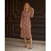 Vestido Esmeral Chemise Animal Print 3% Elastano
