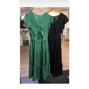 Vestido Esmeral  Crepe  Cores Verde e Preto