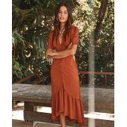 Vestido Esmeral Crepe detalhe Botôes(saia  forrada)