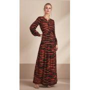 Vestido Esmeral  Longo Zebra Viscose Cores Terra e Off