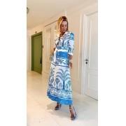 Vestido Claudia Estampa Exclusiva Tropical Crepe 6% Elastano + Faixa
