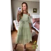 Vestido Evelin Crepe Ombro a Ombro C/Faixa