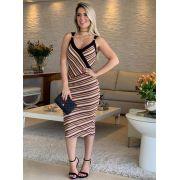 Vestido Fabiana Malha Listras (forro)