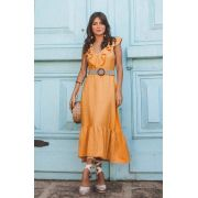 Vestido Fernanda Cheroy  Babados Decote V + Cinto