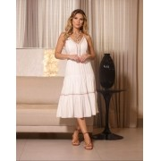 Vestido Isabela Viscose  Alça com detalhe Bordada