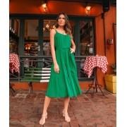 Vestido Isabelle Viscose Alça Dots Breezy Com Faixa