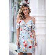 Vestido Jenifer Crepe Floral Detalhe Fivela Azul