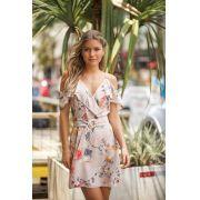 Vestido Jenifer Crepe Floral Detalhe Fivela Nude
