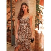 Vestido  Juliana Animal Print Crepe com Forro