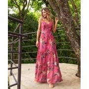 Vestido La Chocole Chiffon Floral Detalhe Renda