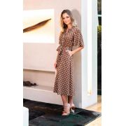 Vestido Lauren viscose poa  c/faixa cores:Off,Marinho e marron