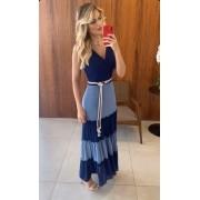 Vestido Liliana Longo Crepe Bicolor