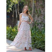 Vestido Luana Chocoleite  Crepe  Floral com Cinto
