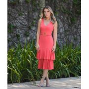 Vestido Maite Canelado Midi + Cinto Coral