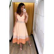 Vestido Mia Crepe Bicolor + Cinto