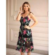 Vestido Morina Chiffon Floral Detalhe  em Renda