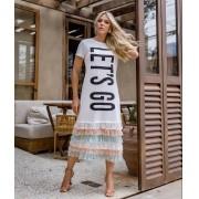 Vestido Morina Lets Go 100% Algodão + Barrado de Renda