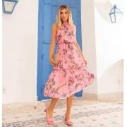 Vestido  Natalia Crepe Floral Forrado