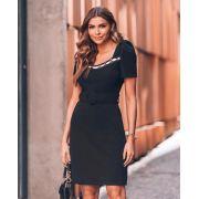 Vestido Nicole Crepe 3 % elastano + Cinto
