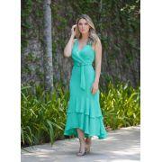 Vestido Nicole Midi Crepe + Cinto Verde
