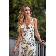 Vestido Paula Crepe Floral  (forro) Cores Rose e Areia