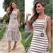 Vestido Poliana Crepe  Listras  Cinto (forro) 4% elastano  Cores Off, Verde e Marinho