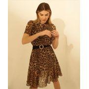 Vestido Rebeca Crepe Animal print detalhe  laço no Pescoço (não acompanha cinto)