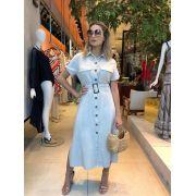 Vestido Roma Chemise Linho Cores Bege e Marinho